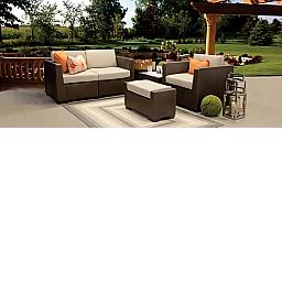 SIMPLICITY OUTDOOR LIVINGROOM SET - CHAIR, OTTOMAN, LOVESEAT, TABLE - SOLID COLORS