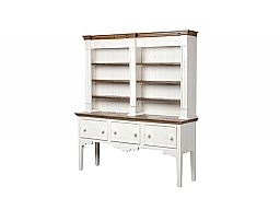 3 DRAWER BOOKCASE - AGED WHITE W TOBACCO TOP