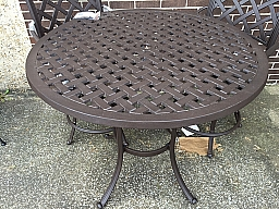Basket Weave Counter Table 42''Top Alum. w/Powder Coat  Color: Brown Spice