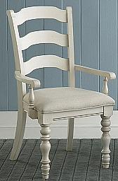 PINE ISLAND LADDER BACK ARM CHAIR - SET OF 2  - OLD WHITE