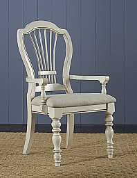 PINE ISLAND WHEAT BACK ARM CHAIR- SET OF 2  - OLD WHITE