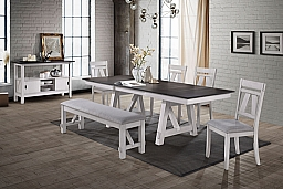 MAISIE RECTANGLE DINING TABLE-WHITE/BROWN