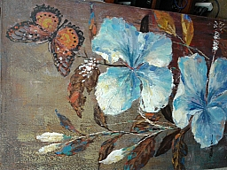 HANDPAINTED OIL PAINTING- BUTTERFLY SCENE