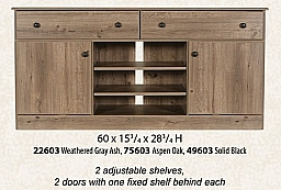 "ENTERTAINMENT CENTER WEATHERED GRAY ASH 60""X 28.5 H"