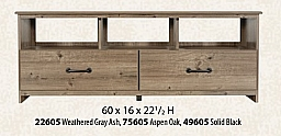 """ENTERTAINMENT CENTER WEATHERED GRAY ASH 60""""X 22.5 H"""