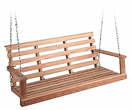 5' FLAT BOTTOM OAK SWING WITH CHAINS AND HOOKS - UNFINISHED RED OAK