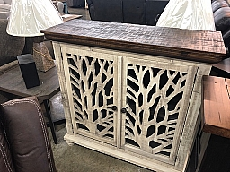 "TOBACCO TOP WITH TREE CARVING 42"" CONSOLE - OLD WHITE (Discontinued)"